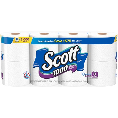 Regular Roll, 1000 Sheets Per Roll, One Ply, White, Unscented