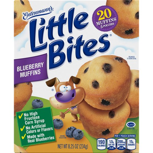 Tasty little muffins that pack a big blueberry taste, sized perfectly for your lunchbox or snack. Made with Real Blueberries, No High Fructose Corn Syrup and No Artificial Colors