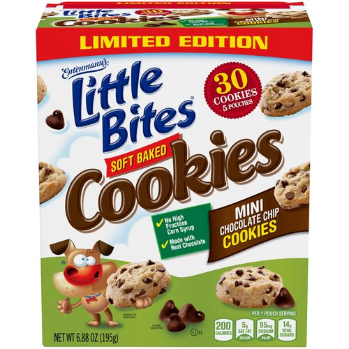 Entenmanns Little Bites Soft Baked Mini Chocolate Chip Cookies are made with Real Chocolate, No High Fructose Corn Syrup and 0g Trans Fat.