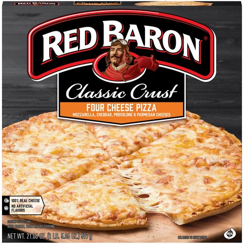 12-inch frozen pizza. Mozzarella, Cheddar, Parmesan and Provolone cheeses. Crispy, airy, flakey layered crust. Robust tomato sauce. 100% real cheese. 0 g Trans fat.