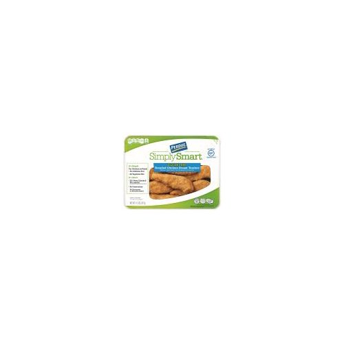 Breaded tender-shaped chicken breast that is fully cooked and certified gluten free.