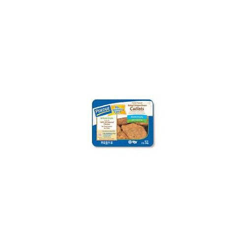 With whole grain homestyle breading. Baked and fully cooked. Approximately 3 oz. each; packed 4 per 12 oz. tray