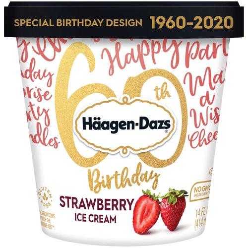 Premium ice cream with real strawberry bits.