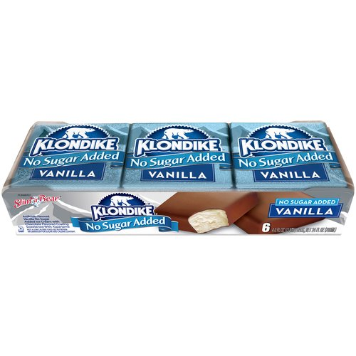 We don't have to add sugar to make this bar sweet. Klondike No Sugar Added Light Vanilla Ice Cream Bar 6ct has vanilla flavored no sugar added low fat ice cream with a milk chocolate flavored coating