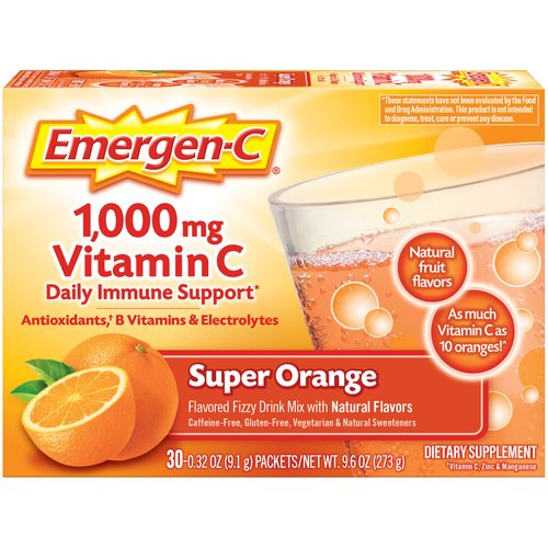 Super Orange Flavor. 30 - 0.32 Ounce Packets. Caffeine Free. With more Vitamin C than 10 oranges. Antioxidants, B Vitamins, and Electrolytes