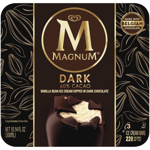 MAGNUM Dark Ice Cream bars are made with silky vanilla bean ice cream dipped in dark chocolate.