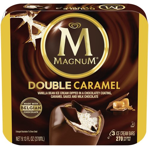 MAGNUM Double Caramel Ice Cream Bars are made with the perfect balance of vanilla bean ice cream, rich caramel sauce, and Belgian chocolate.