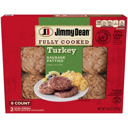 Made with premium turkey, seasoned to perfection with our signature blend of spices, these savory sausage patties have 11 grams of protein per serving to give you more fuel to power your day.