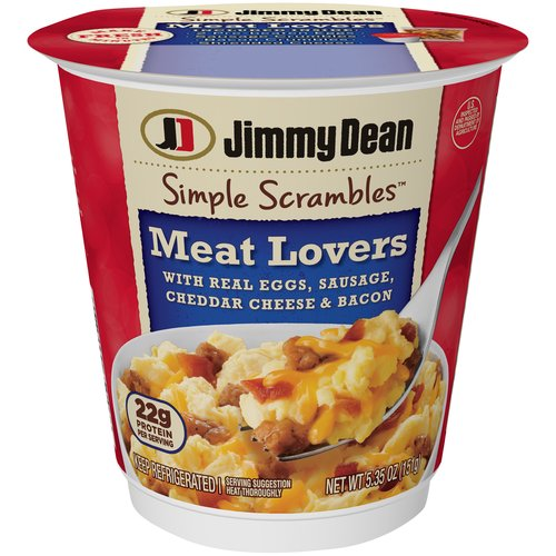 Made with two real eggs, premium pork sausage, bacon, and cheddar cheese, our Simple Scrambles are packed with 23 grams of protein per serving for a hearty breakfast thatâ€s ready in seconds.