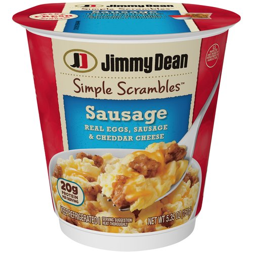 Made with two real eggs, premium pork sausage, and cheddar cheese, our Simple Scrambles are packed with 22 grams of protein per serving for a hearty breakfast thatâ€s ready in seconds.