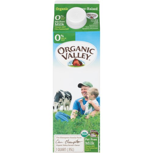 We Never Use:  Antibiotics, GMOs, Toxic Pesticides, Synthetic Hormones; The Elsenpeter Family Farm, Organic Farm Owner; Ultra Pasteurized for a Longer Shelf Life.