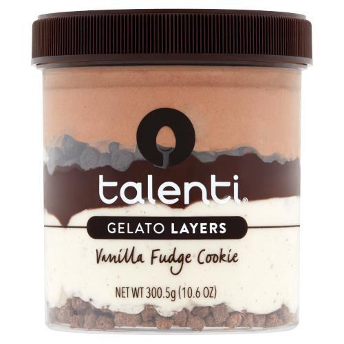 First layer:  Talenti Double Dark Gelato; Second layer: Chocolate Cookie Chunks; Third Layer: Hot Fudge; Fourth Layer:  Talenti Madagascan Vanilla Bean Gelato; Fifth Layer:  Chocolatey Waffle Cones