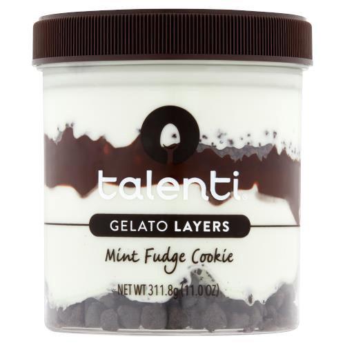 First layer:  Talenti Mediterranean Mint Gelato; Second layer: Chocolatey Cookies; Third Layer: Hot Fudge; Fourth Layer:  Talenti Mediterranean Mint Gelato; Fifth Layer:  Chocolate Cookie Pieces