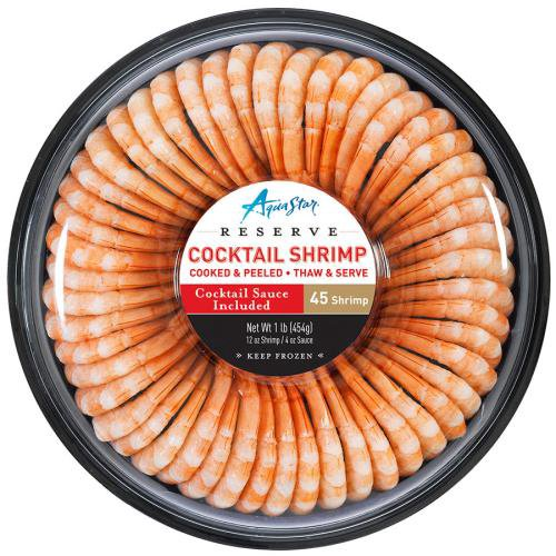 Small frozen shrimp ring with cocktail sauce