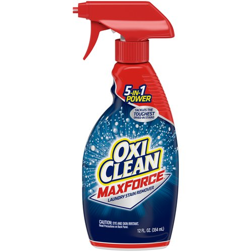 OxiClean Max Force combines 4 types of stain fighters to get out more of your toughest dried-in stains: grass & blood, grease & oil, food stains, soil & clay.