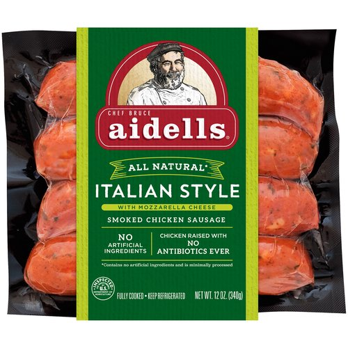 Made with mozzarella cheese, roasted garlic, and hardwood smoked chicken, this gluten-free sausage is rich and savory with a hint of freshness from real basil.