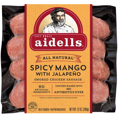 Made with chunks of ripe mango and jalapeno peppers, this all-natural* sausage is sweet and spicy with a hint of freshness from cilantro. *Minimally processed, no artificial ingredients