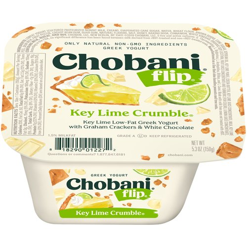 Key lime low fat yogurt with graham crackers and white chocolate crunchy toppings. 1.5% milkfat. Only natural Non-GMO ingredients. No artificial flavors or sweeteners. No preservatives. Includes live and active cultures. Three types of probiotics. Kosher.