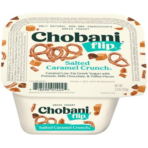 Caramel low fat greek yogurt with salted pretzels, chocolate pieces, and praline pecans