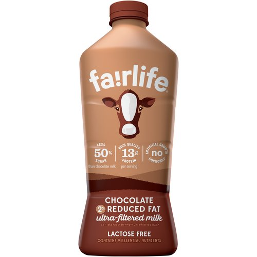 Our rich and creamy fairlife® chocolate ultra-filtered milk has half the sugars of ordinary chocolate milk and 50% more protein. Finally an indulgence you can feel good about.