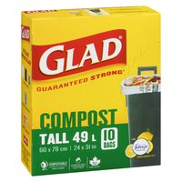 10 Tall Bags with Odour Guard. 60.4cm x 77.4cm. 23.8in x 30.5in.