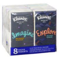 8 Pocket Packs. 10 3-Ply White Tissues Per Pack.