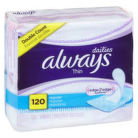 Always - Dailies Thins Regular Liners - Unscented, 120 Each
