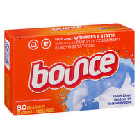 Great for controlling static cling in fabrics. Helps repel lint and hair, soften fabrics, and gives you long lasting freshness. Enjoy the light fragrant scent of fresh linen. Contains 80 dryer sheets.