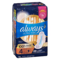 Always Always - Ultra Thin Overnight Pads, Size 4-5, 26 Each