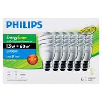 Medium base, EnergySaver mini twister compact fluorescent light bulbs. Daylight bulbs last 9 years. Compact size fits more fixtures. non-dimmable.