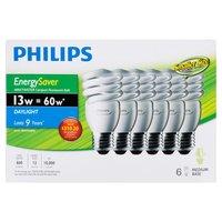 Philips - 60W EnergySaver Mini Twister Bulbs - Daylight, 6 Each