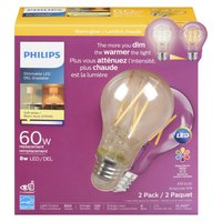 Philips Philips - 60W LED Dimmable Bulb - Soft White Light, 2 Each