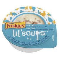 Souprise your cat with Lil Soups  a yummy adult cat food complement! Real ingredients make every lil bowl real delicious! In a velvety chicken broth.