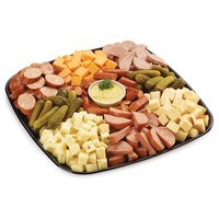 48 hour Prep Time Required for Party Platters. Limit 10 Per Order. Mild Cheddar, Monterey Jack Jalapeno, Havarti, Smoked Garlic Coil, Pepperoni Sticks, and a Ukrainian Ring with Kalamata Olives.