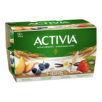 Activia - Probiotic Yogurt Fiber - Peach/Bbrry/Vnlla/Sbrry, 12 Each