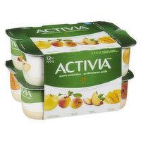 Activia - Probiotic Yogurt- Yellow-Apple/Apricot/Peach/Mango, 12 Each