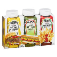 3x 375 ml of Heinz Tomato Ketchup, Prepared Mustard and Sweet Relish.