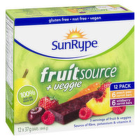 SunRype - Fruit Source Plus Veggie Bars, 12 Each