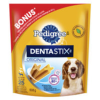 For 22-55lbs dogs. Chewy, textured X-shaped, stick-like snacks that deliver daily oral care efficacy, with a tasty flavour. Proven to reduce plaque and tartar buildup. Contains 25 sticks= 608g