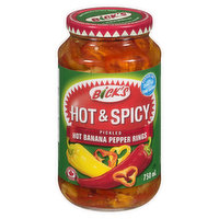 Bick's - Pickled Banana Pepper Rings - Hot & Spicy, 750 Millilitre