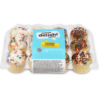 6 Vanilla Frosted and 6 Chocolate Frosted, topped with Sprinkles, these are a great Peanut Free snack.