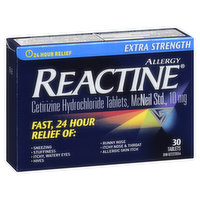 Cetirizine hydrochloride. Relieves sneezing, stuffiness, itchy, watery eyes, hives, runny nose, itchy nose and throat, nasal congestion and allergic skin itch.