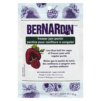 Simply Crush, Stir & Freeze. No Cook Recipe. Less than a Half the Sugar of Freezer Jams with Regular Pectin.