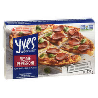 Simulated Pepperoni. Contains no Meat.  Perfect for meatless pizzas, our Veggie Pizza Pepperoni slices have the great taste of regular pepperoni without any of the fat, cholesterol or preservatives.