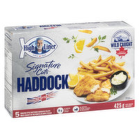 Frozen 5 English Style Battered Haddock Fillets.