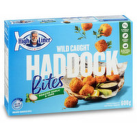 Frozen. Breaded Haddock Bites. 11G of Protein per 93G serving, responsibly sourced and no preservatives, artificial colours or flavours. Ready in 12-14 minutes