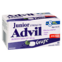 Advil - Junior Strength Chewable Tablets - Grape, 40 Each