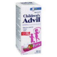 100mg/5ml. Berry Flavoured Liquid Effective Relief of Fever and Pain. Dye And Alcohol Free.Ages 2 to 12 years