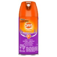 Family protection, deet free. Repels mosquitoes and isn't oily or greasy.Aerosol spray allows for application in a continuous sweeping motion.