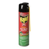 Raid Outdoor Ant Nest Destroyer has a nozzle and formula designed to produce a foam that reaches ants where they hide, penetrating tight areas such as anthills and cracks and crevices.